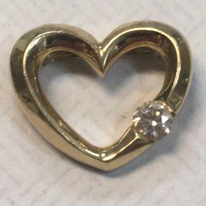 Jewelry - 14K & Genuine DIamond Solitaire Open Heart Pendant